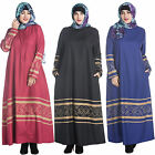 Muslim style robe dress Linen Print Long Sleeve Women's Dress plus size XL-7XL
