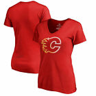 Calgary Flames Fanatics Branded Ladies Gradient Logo Short Sleeve  T-Shirt - Red