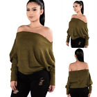 Women Long Sleeve Loose Knitted Sweater Cardigan Jumper Knitwear Outwear Tops