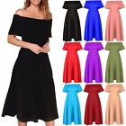 Women Ladies Off The Shoulder Bardot Ruffle Frill Flared Swing Midi Skater Dress