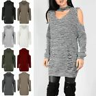 Womens Ladies Destroyed Oversized Long Sleeve Cuffed Jumper Knitted  Baggy Dress