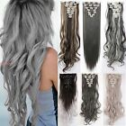 Real Thick Clip In Hair Extensions Long New Straight Curly Full Head 8 Pieces FE