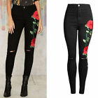 Womens Flower Embroidery Skinny Pencil Pants Knee Hole Jeans Trousers Black USSz