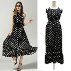 fashion chiffon Polka Dot sleeveless evening Cocktai party long dress size M-6XL