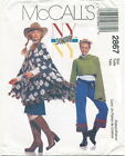 McCalls 2867 JR Juniors Poncho Top Skirt Pants Sewing Pattern Size 1/2-7/8