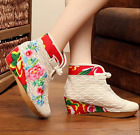 Womens embroidery canvas lace mesh ankle boots wedge National Plate buckle shoes