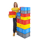 Euro Stacking Container Boxes Storage Crates Heavy Duty Plastic 3 Colours BiGDUG