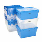 Storage Containers Tote Boxes Attached Lid Storage Box Stackable 2 Sizes