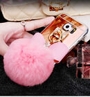 Rabbit Fur Ball Bowknot Mirror Rotating Ring Case Cover For Samsung S6 Edge S5