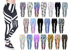 Print Leggings Damen bedruckt Leggins Stretch Legins Blickdicht Muster Ladies