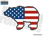 Bear Decal American Flag USA Grizzly Kodiak Hunter Gloss Vinyl Sticker (LH) H1G