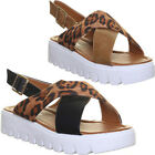 Womens Sandals Leopard Print Twisted Flat Sole Ankle Strap UK Size 3 4 5 6 7 8