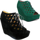 10825 Womens Nomadic Sandals High Platform Wedge Peep Toe Lace Up Ladies Pump Sh