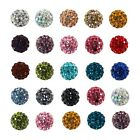 8mm Round Rhinestone Crystal Clay Paved Shamballa Beads 10 pcs