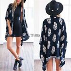 New Fashion Women Ladies 3/4 Sleeve Kimono Style Front Open Print Loose TXCL01