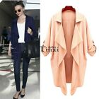 Fashion Women Lapel Chiffon Asymmetrical Hem Jacket Trench Long Coat TXCL01
