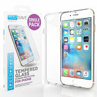 iPhone 7 / 7 Plus Clear Gel Case & Tempered Glass Screen Protector Full Cover