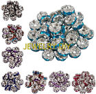 Jewelry Diy Crystal Rhinestone SILVER PLATED 12 Color Rondelle Spacer BEAD 6/8mm