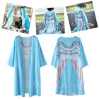 Women Lady Kimono Beach Cover Up Angel Wing Print 3/4 Sleeve Loose Long Cardigan
