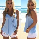 Women Sexy Lace Chiffon Strap Camiso Beach Casual Club Loose Chiffon Vest Tops