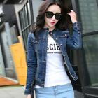 Women Denim Crop Jacket Ladies Long Sleeve Button Pocket Button up
