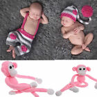 Newborn Baby Girls Boys Crochet Monkey Elf Hat&Pants Photography Photo Prop Toy