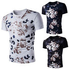 Fashion Mens Casual Shirts Fitted Crew Neck Short Sleeve Floral T Shirt Tee Tops