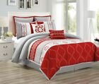 Chezmoi Collection 8-piece Red/Gray Floral Embroidery Medallion Comforter Set