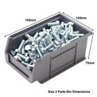 New Quality BRITISH MADE Grey Plastic Parts Storage Bins Boxes Choice Of 7 Sizes