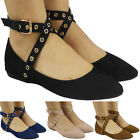Womens Ladies Flat Ankle Cross Strap Buckle Ballet Pumps Ballerina Shoes Size