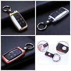 For Land Rover Remote Key Fob Case Aircraft Aluminum Cover Genuine Leather Chain