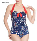 Hell Bunny Halterneck 50s Nautical Blue/Red ST TROPEZ Swimsuit Anchor All Sizes