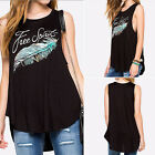 Fashion Casual Women Feather Print Black Tank Tops Summer T Shirts Blouse LAUS