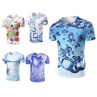 New Men's Cotton 3D Print Short Sleeve Summer Casual Shirt T Shirt Basic Tee Top