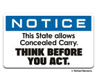 State Allows Concealed Carry Warning Decal 2nd Amendment Window Sticker EMV