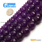 "Dark Purple Jade Faceted Round Beads For Jewelry Making Free Shipping 15"" Strand"