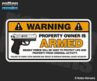 Armed Deadly Force Warning Security Decal Gun Firearm Gloss Vinyl Sticker HGV