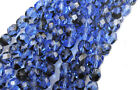 50 Blue Black Tortoise Glass Faceted Loose Beads 6MM