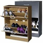 2 Drawer Shoe Storage Cabinet Cupboard Wooden Furniture Footwear Stand Rack Unit