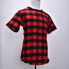 Extended Hip Hop T-Shirt Back Zipper Swag Men Man Streetwear Tyga Red Plaid CAWB