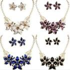 Necklace Jewelry New Crystal Flower Set Charm Woman Statement Earrings