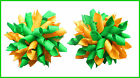 SCHOOL UNIFORM EMERALD GREEN YELLOW GOLD CHEER KORKER HAIR BOWS BOBBLES CLIPS