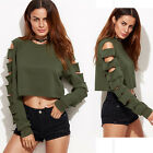 New Ladies Long Sleeve Hole Tops Casual Blouse Loose Short T-shirt Size 6 8 10
