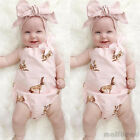 Cute Infant Baby Girls Rabbit pattern Romper Jumpsuit Bodysuit Headband Outfits