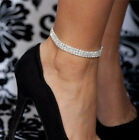 3-Row Three Row Crystal Rhinestone Tennis Ankle Anklet Bracelet Jewelry LAUS