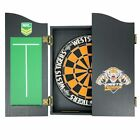 49664 WESTS TIGERS NRL BRISTLE DARTBOARD & WOODEN CABINET + SET OF 3 DARTS