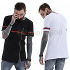 Mens Casual Summer Short Sleeve Shirt Crew Neck Zip T Shirt Plain Long Tee Tops
