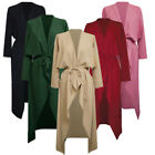 Celmia Womens Maxi Long Sleeve Waterfall Belted Duster Trench Coat Jacket Autumn