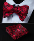 BF3001R Red Floral Men Woven Silk Self Bow Tie Pocket Square Set