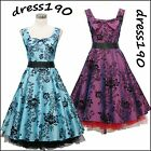 dress190 Sleeveless 50s Floral Rockabilly Cocktail Prom Ball Gown Party Dress
